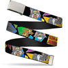 Chrome Buckle Web Belt - TOM & JERRY Poses Black/Multi Color Webbing