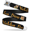 Fred Face Full Color Black Seatbelt Belt - Fred Face/Pose YABBA DABBA DOO Black/Gray/Orange Webbing