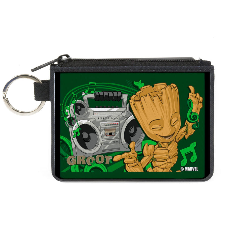 GUARDIANS OF THE GALAXY - EVERGREEN Canvas Zipper Wallet - MINI X-SMALL - GROOT Boombox Groove Greens Gray Browns