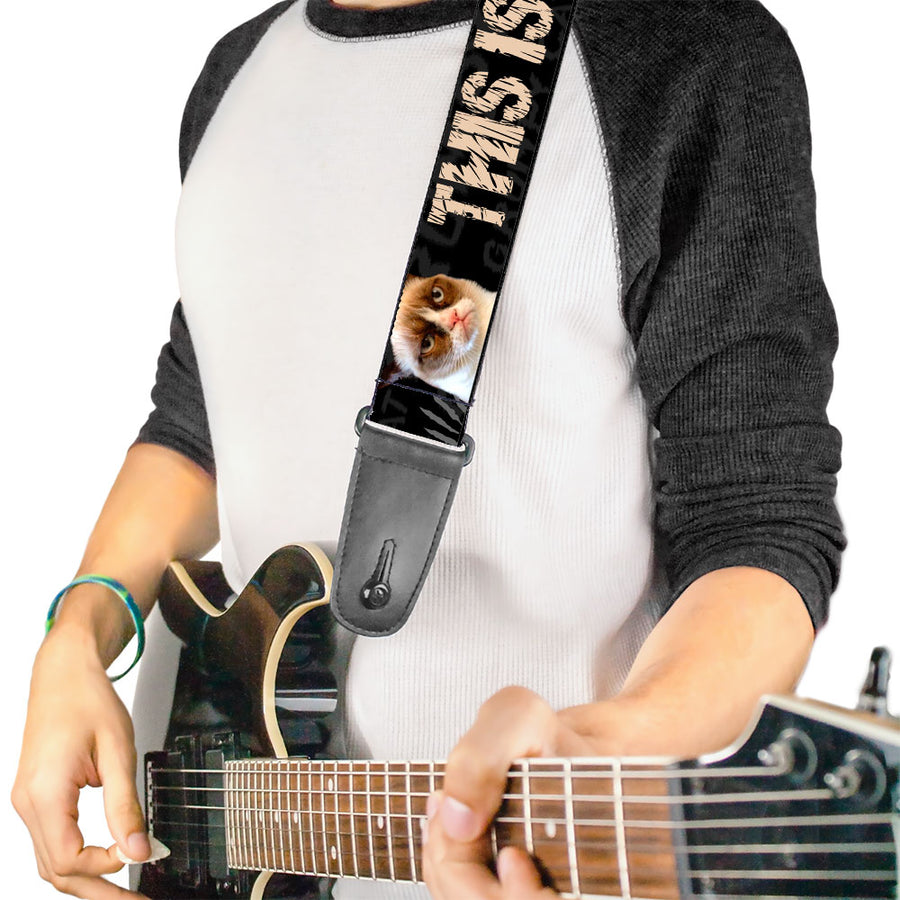 Guitar Strap - Grumpy Cat THIS IS MY HAPPY FACE Black Tan