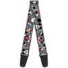 Guitar Strap - Mickey & Minnie Peek-a-Boo Expressions Swirl Black White