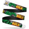 MARVEL COMICS Marvel Comics Logo Full Color Seatbelt Belt - THE INCREDIBLE HULK Action Poses/Stacked Comics Webbing