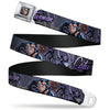 Catwoman Face Full Color Purple Seatbelt Belt - CATWOMAN-NINE LIVES OF A FELINE FATALE Pose2/Jewelry/Black Cat Purples Webbing