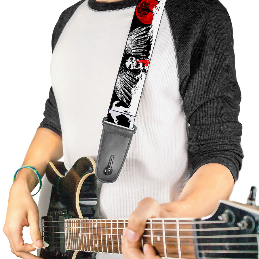 Guitar Strap - Fright Night Black White Red