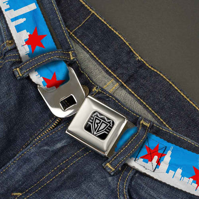 BD Wings Logo CLOSE-UP Full Color Black Silver Seatbelt Belt - Chicago Skyline/Flag Distressed Black/White/Red Webbing