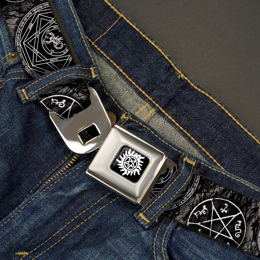 Winchester Logo Full Color Black White Seatbelt Belt - Supernatural Devil's Trap Pentagrams Grays/Black/White Webbing