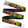 MARVEL COMICS Marvel Comics Logo Full Color Seatbelt Belt - Thor & Loki Poses/Retro Comic Books Stacked Webbing