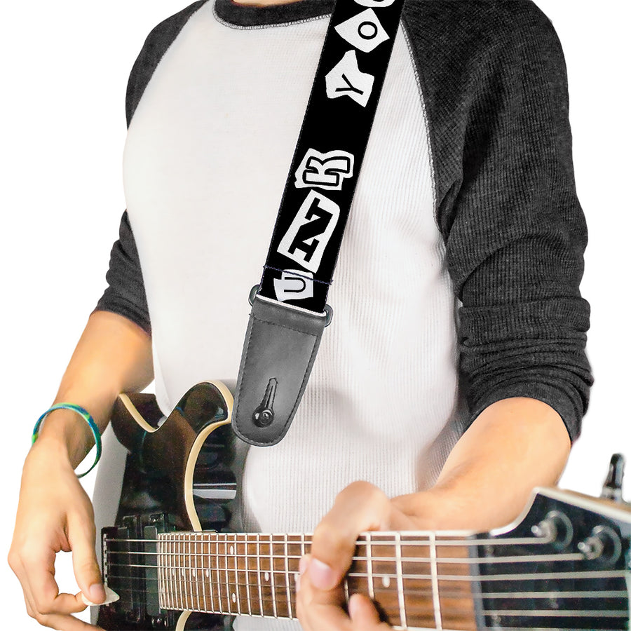 Guitar Strap - Punk You Black White