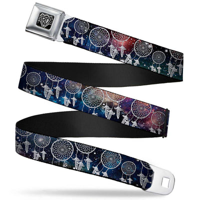 BD Wings Logo CLOSE-UP Full Color Black Silver Seatbelt Belt - Dream Catcher Galaxy/White Webbing