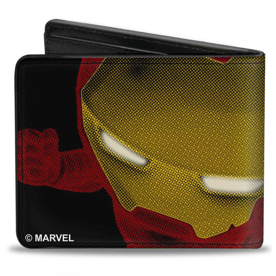 MARVEL AVENGERS Bi-Fold Wallet - Chibi Iron Man Repulsor Pose Halftone Black Red Yellow