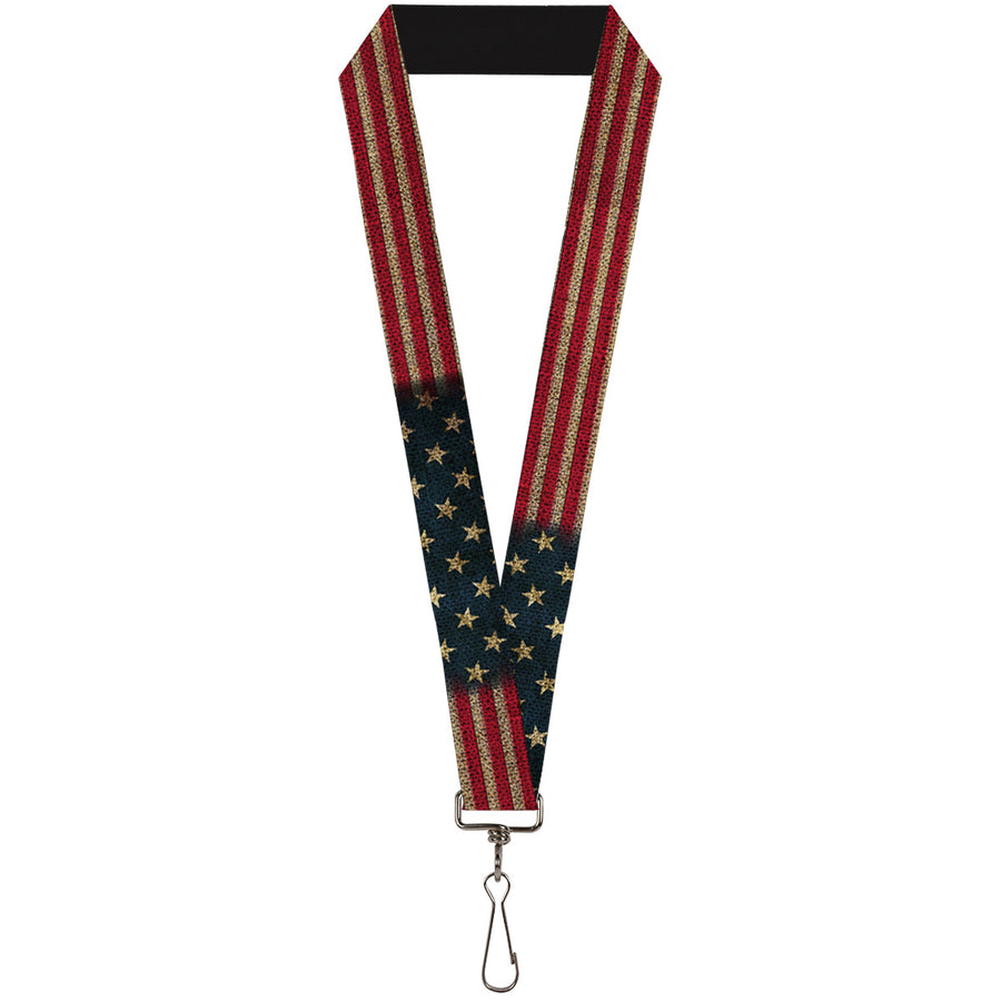 "Lanyard - 1.0"" - Vintage US Flag Stretch"