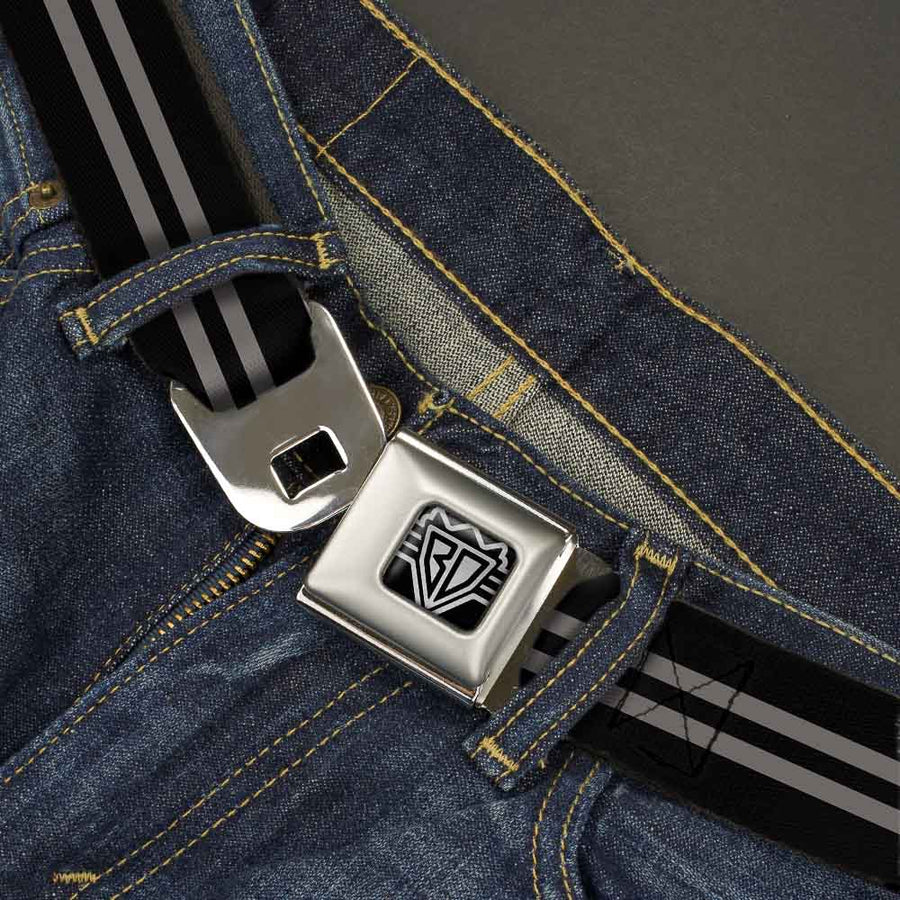 BD Wings Logo CLOSE-UP Full Color Black Silver Seatbelt Belt - Stripe Black/Gray Webbing