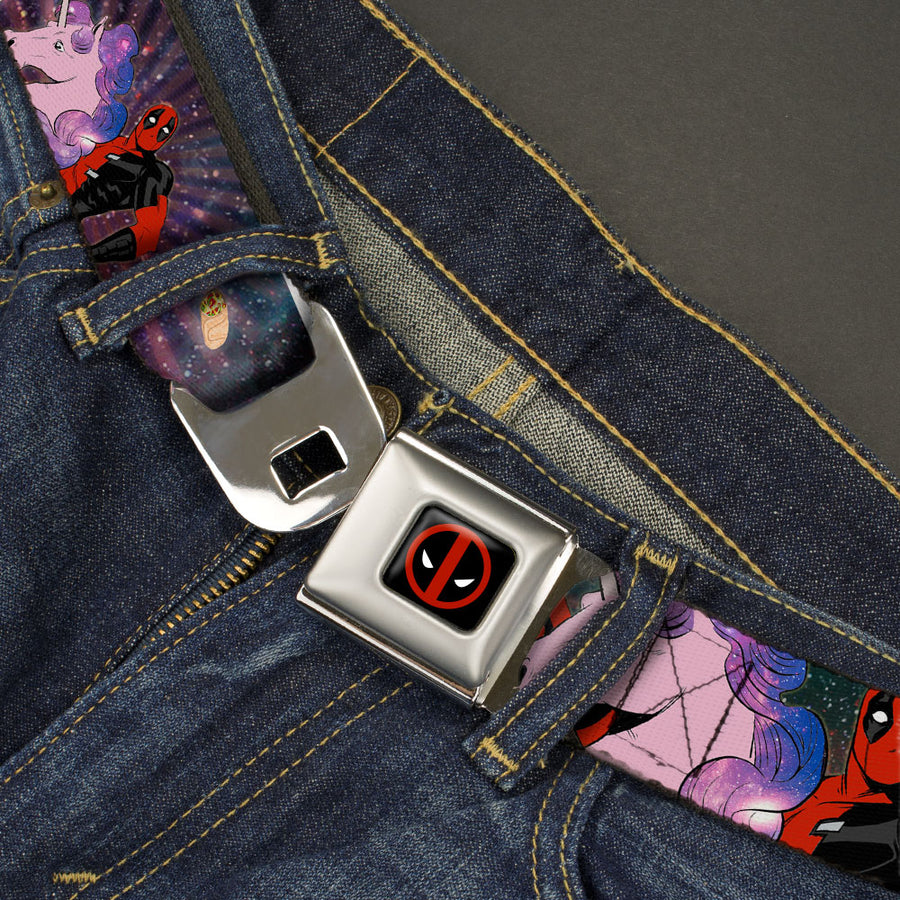MARVEL DEADPOOL Deadpool Logo Full Color Black Red White Seatbelt Belt - Deadpool on Unicorn Pose/Chimichangas/Rays Galaxy Blues/Purples/Pinks Webbing