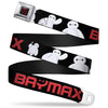 BAYMAX Hanko Full Color Black Red Seatbelt Belt - BAYMAX Poses Black/White/Red Webbing