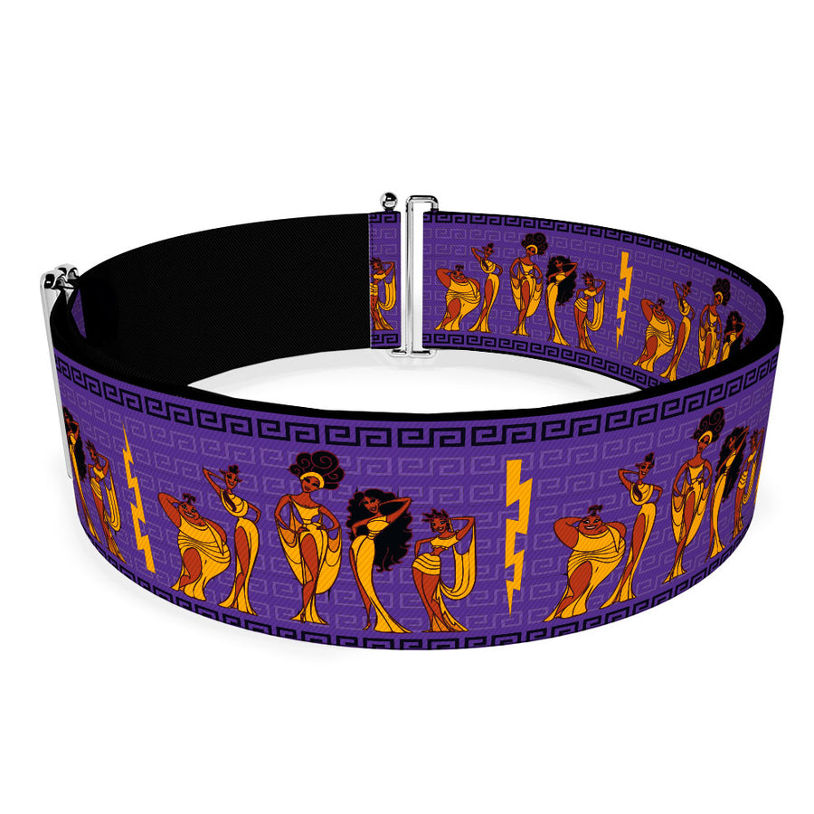 Cinch Waist Belt - Hercules The Muses Group Pose Greek Key Purples