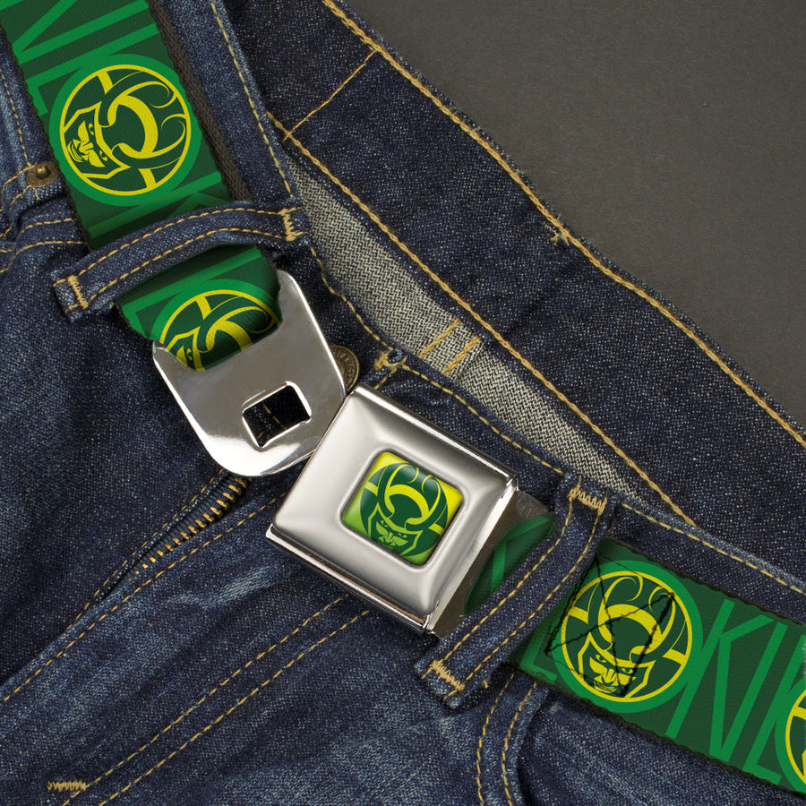 Loki Face Icon Full Color Yellow/Greens Seatbelt Belt - LOKI Text with Face Icon Greens/Yellow Webbing