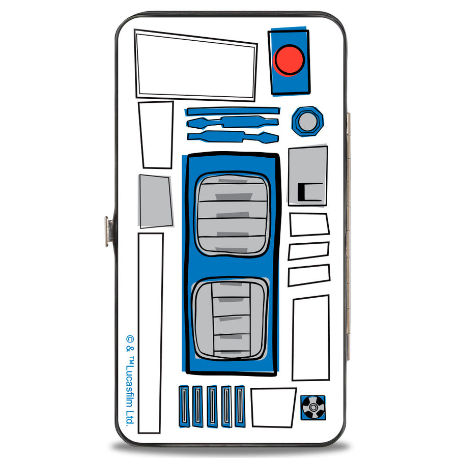 Hinged Wallet - Star Wars R2-D2 Pose + Parts CLOSE-UP White Gray Blue Red