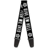 Guitar Strap - Winchester Pentagram GIVE 'EM HELL Black White