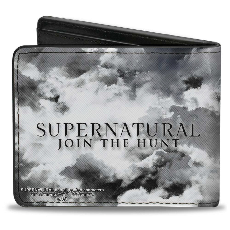 Bi-Fold Wallet - Supernatural 4-Character Poses + SUPERNATURAL-JOIN THE HUNT Clouds Grays Black