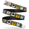 WALL-E Logo Full Color Black Red White Seatbelt Belt - WALL-E & EVE Pose/Face Hazard Blocks Gray/Yellow/Black Webbing