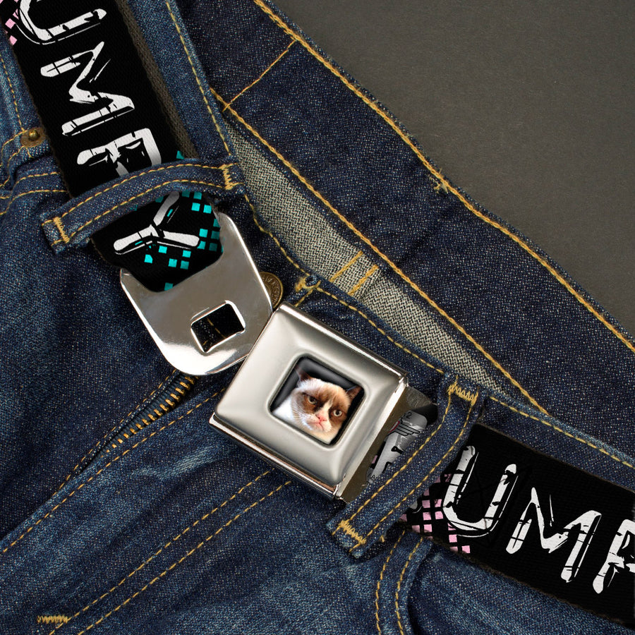 Grumpy Cat Face Full Color Black Seatbelt Belt - GRUMPY CAT Scratched w/Face CLOSE-UP Black/Pink/Blue/White Webbing