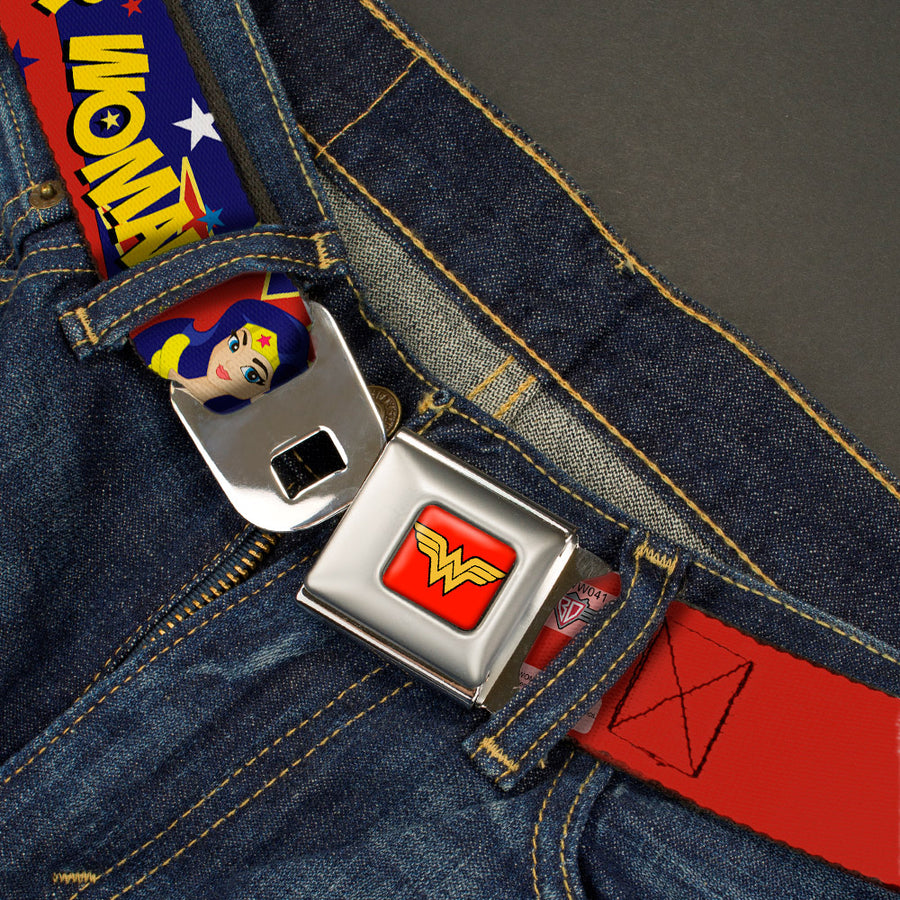 Wonder Woman Logo Full Color Red Seatbelt Belt - DC Girls WONDER WOMAN 3-Poses/Logo/Stars Red/Gold/Blues/White Webbing