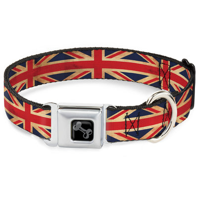 Dog Bone Black/Silver Seatbelt Buckle Collar - United Kingdom Flag Continuous Vintage