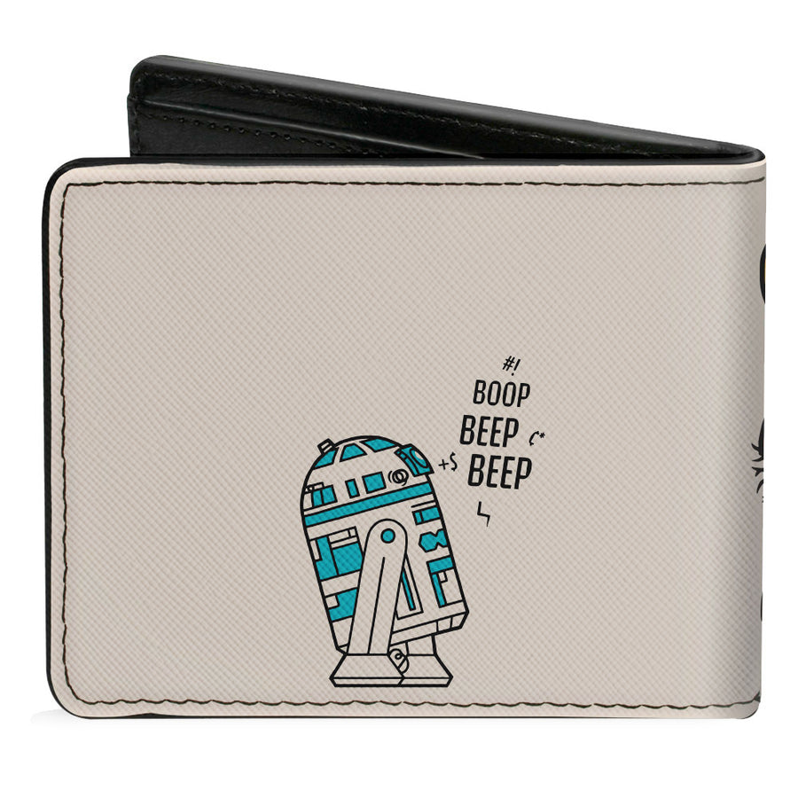 Bi-Fold Wallet - Star Wars Chewbacca Carrying C3-PO + R2-D2 Mono Line Scene