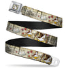 Belle Face Sketch Full Color Light Yellow Seatbelt Belt - Belle Sketch Poses/Story Script Webbing