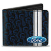 Bi-Fold Wallet - FORD Oval Stripe Piston Repeat Black Blue White