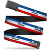 Black Buckle Web Belt - MOPAR Logo/Stripe Blue/White/Red Webbing