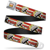 MARVEL COMICS Marvel Comics Logo Full Color Seatbelt Belt - THOR & Hammer Red/Yellow/White Webbing