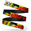 Classic BATMAN Comic Logo Full Color Yellow Black Red Seatbelt Belt - Classic BATMAN Issue #1 Robin & Batman Cover Pose Yellow/Red Webbing