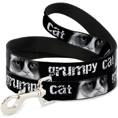 Dog Leash - GRUMPY CAT w/Face CLOSE-UP Black/White