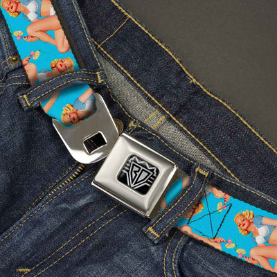 BD Wings Logo CLOSE-UP Full Color Black Silver Seatbelt Belt - Blonde Pin Up Girl Bright Blue Webbing
