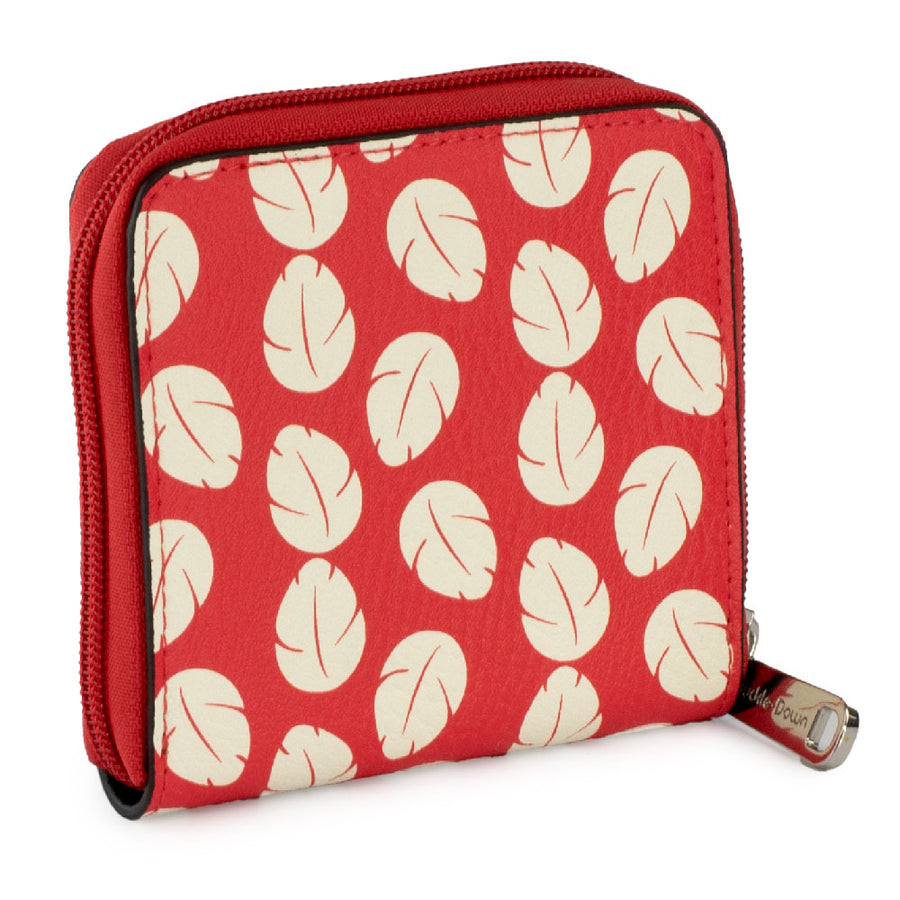 <b>Pre-Order Only </b><br>Women's Zip Around Wallet Square - Lilo & Stitch Stitch Pose Lilo Dress Leaves Red Ivory