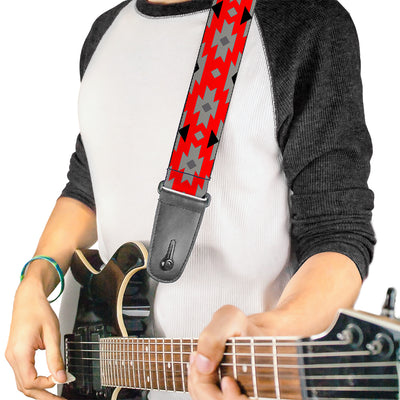 Guitar Strap - Navajo Gray Red Gray Black