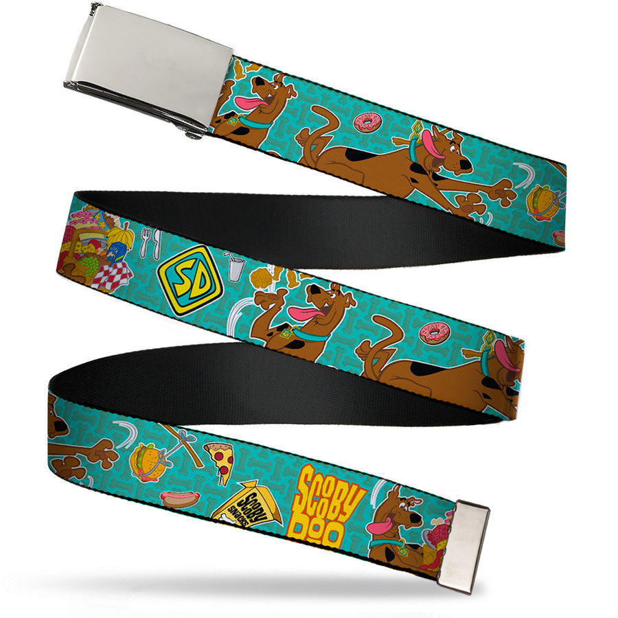 Chrome Buckle Web Belt - Scooby Doo & Snacks/Bone Monogram Blues Webbing
