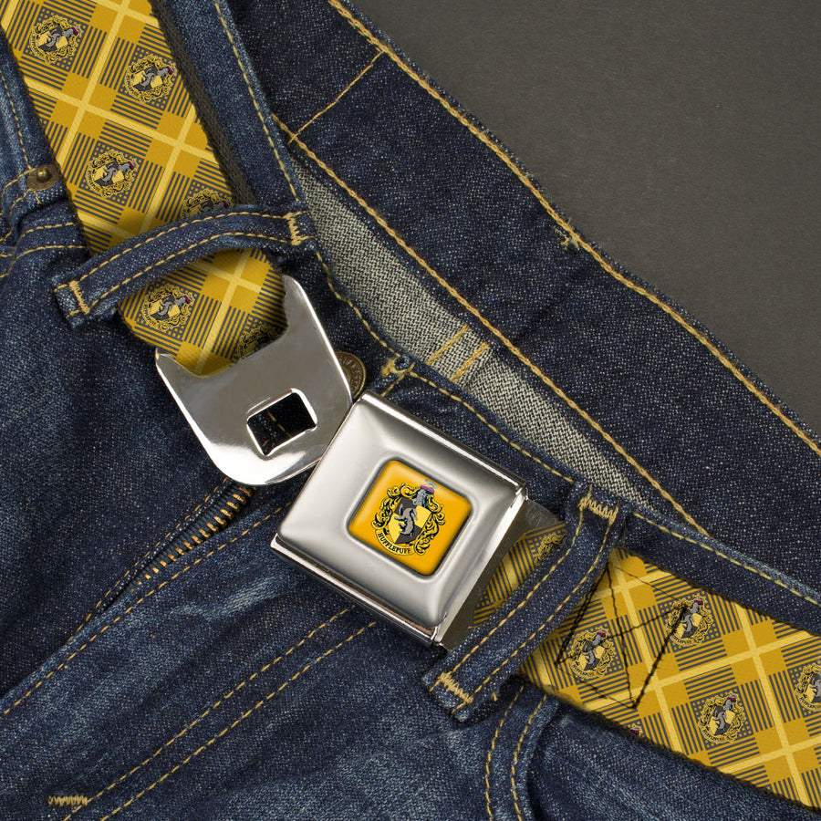 HUFFLEPUFF Crest Full Color Gold Seatbelt Belt - Harry Potter Hufflepuff Crest Plaid Yellows/Gray Webbing