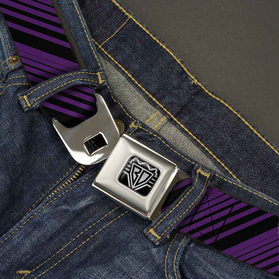 BD Wings Logo CLOSE-UP Full Color Black Silver Seatbelt Belt - Diagonal Stripes Purples Webbing