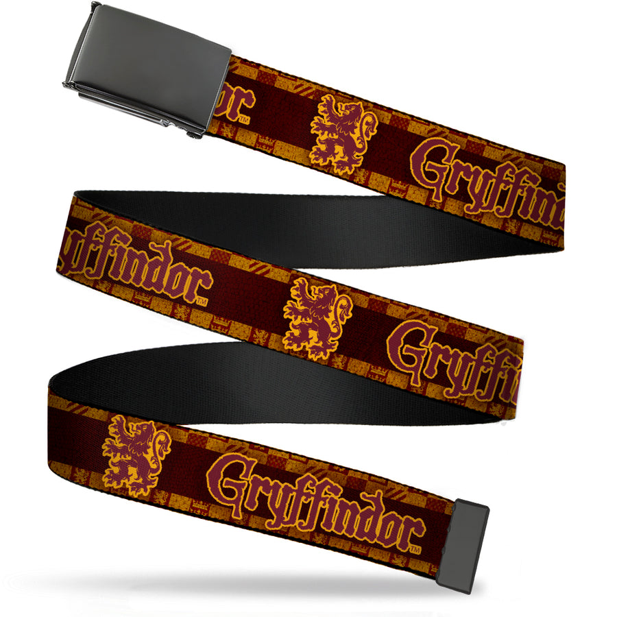 Black Buckle Web Belt - Harry Potter GRYFFINDOR/Lion Checker Stripe Black/Reds/Golds Webbing