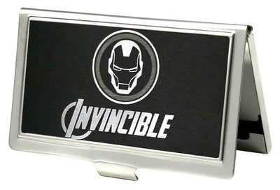 MARVEL AVENGERS Business Card Holder - SMALL - Marvel Avengers Iron Man Logo INVINCIBLE Reverse Brushed