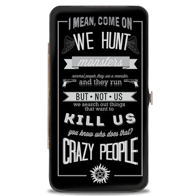 Hinged Wallet - Supernatural Dean CRAZY PEOPLE Quote Winchester Pentagram Black Grays