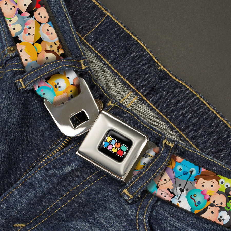 TSUM TSUM Logo Full Color Black Multi Color Seatbelt Belt - Tsum Tsum Faces Stacked Webbing