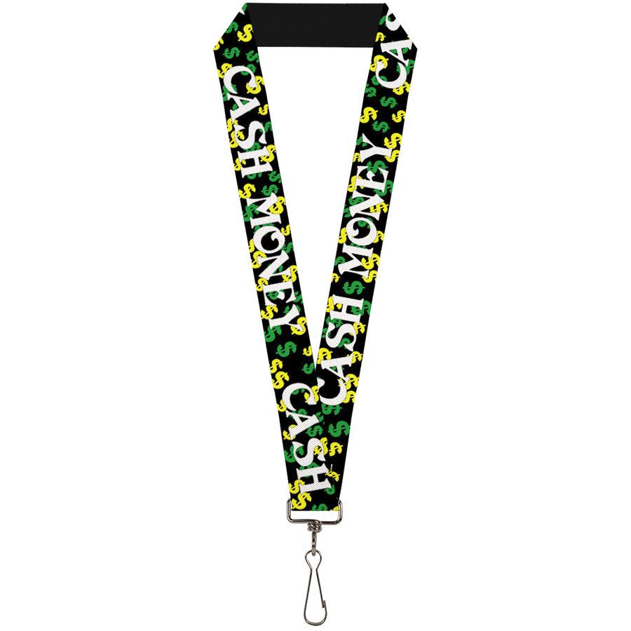 "Lanyard - 1.0"" - CASH MONEY w $$$ Black White Yellow Green"
