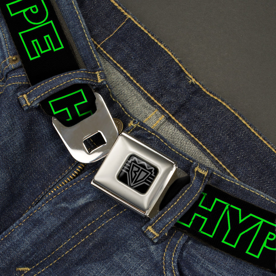 BD Wings Logo CLOSE-UP Black/Silver Seatbelt Belt - HYPE Outline Black/Neon Green Webbing