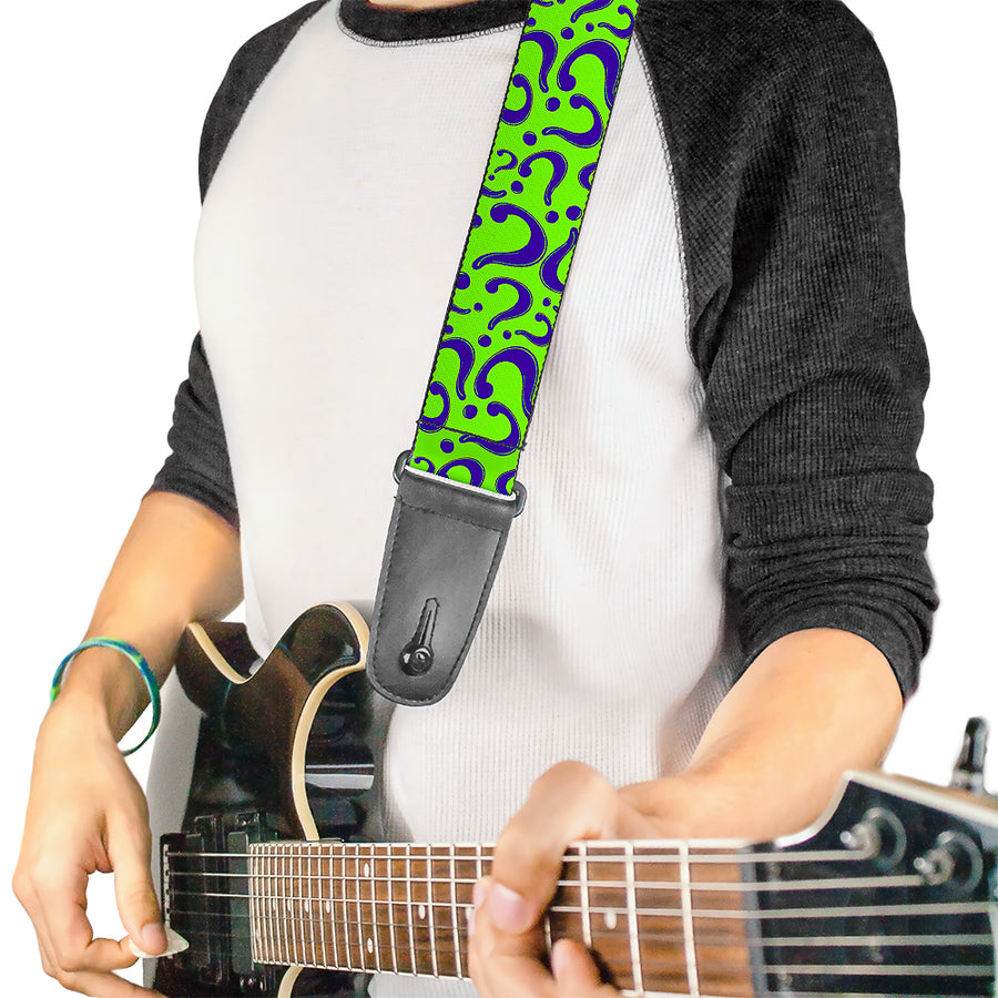 Guitar Strap - Question Mark Scattered Lime Green Purple