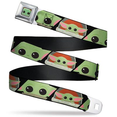 Star Wars The Child Chibi Face CLOSE-UP Full Color Seatbelt Belt - Star Wars The Child Chibi Face Blocks Black Webbing
