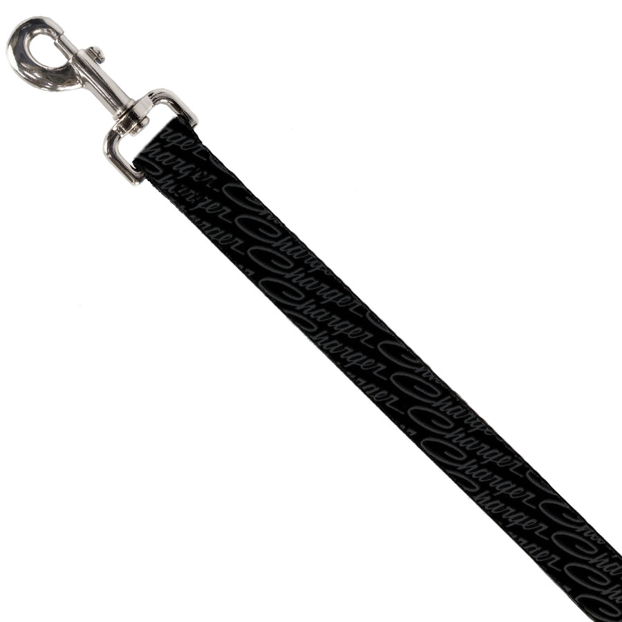 Dog Leash - CHARGER Script Emblem Repeat Black/Grays