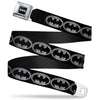 Batman Black Silver Seatbelt Belt - Batman Shield Black/Silver Webbing
